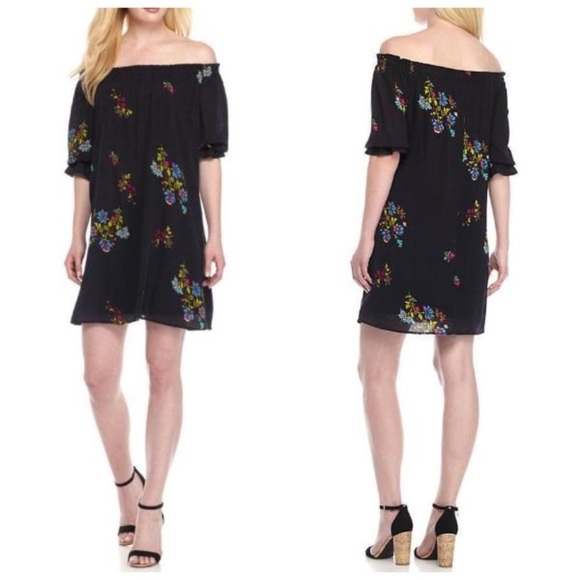 Lux Dresses & Skirts - LUX | Boho Off Shoulder Black Floral Dress Size 12